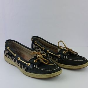Sperry Top Sider Leopard Print Slipon Shoes Size8